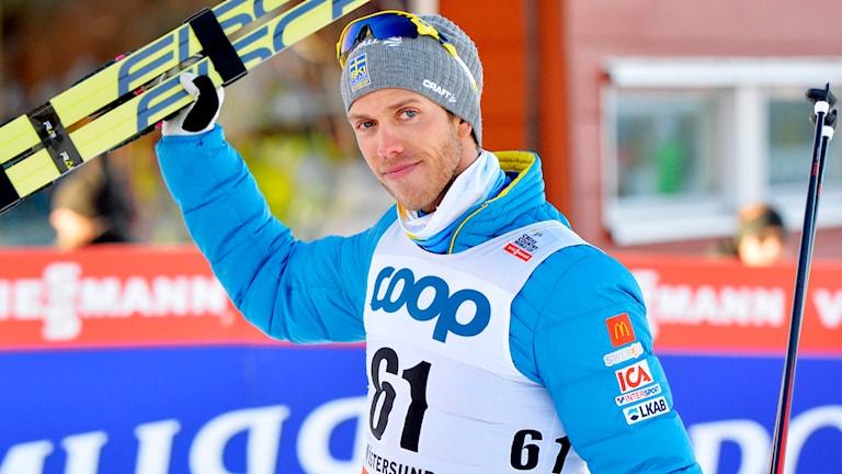 Marcus Hellner kom trea i 15 km fristil på WC i Östersund. Foto: Henrik Montgomery/TT.