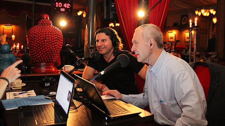 Jovan Radomir från SVT på besök. Foto: Janne Mårdberg/Sveriges radio.