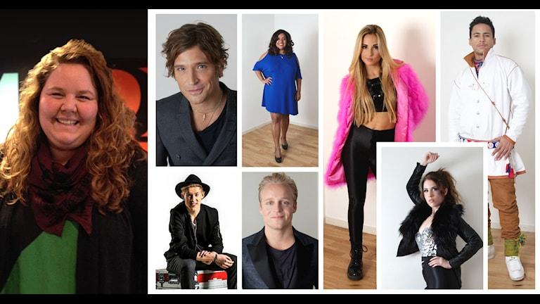 Sveriges Radios Sara Johansson och artisterna i delfinal tre av Melodifestivalen 2015. Foto: Sveriges Radio.