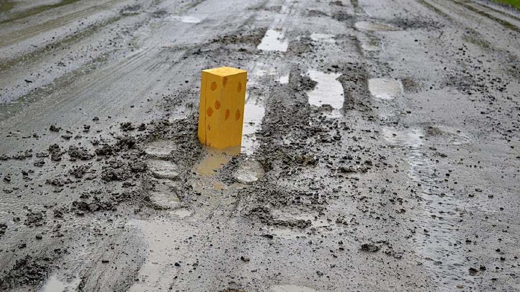 Hål i vägen med en bräda nedstoppad som varning. Foto: Göte Thorén.