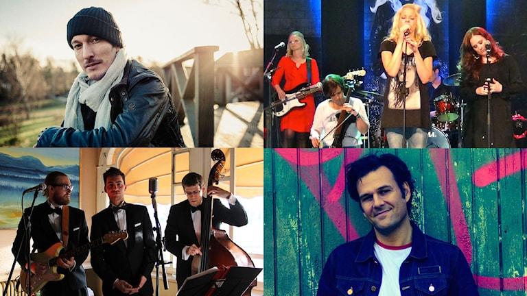 Michael Michailoff, Erica Skogen feat. Therese Olofsson, L&T och Erik Koskinen. Foto: Hans Lindén/Asta Persson/Tony Arnqvist/Stina Öhman.