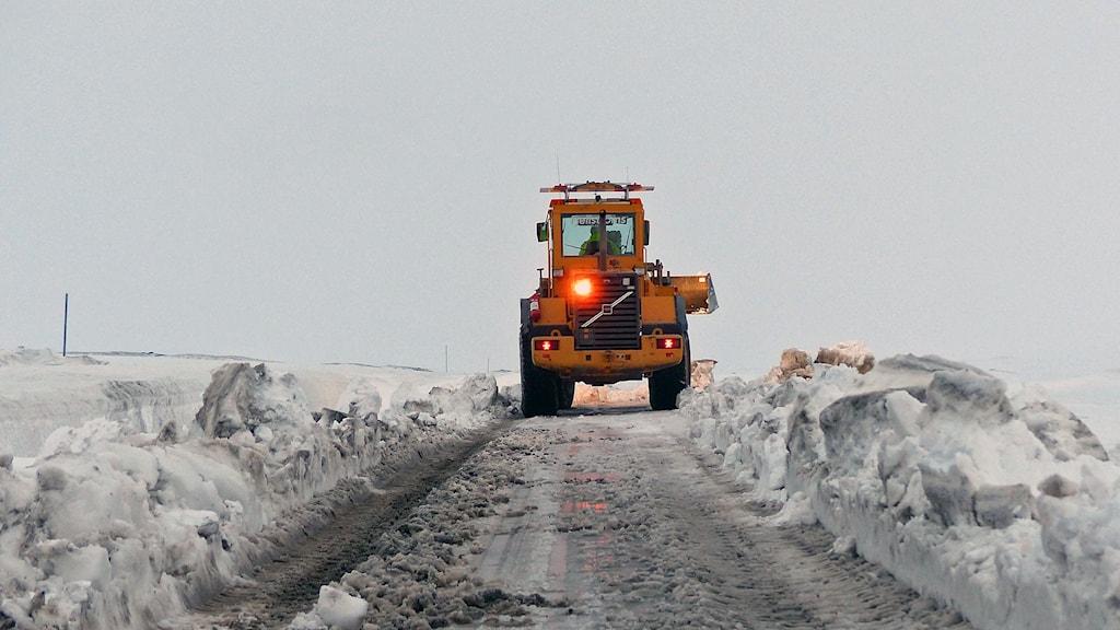 hjullastare röjer snö i Stekenjokk