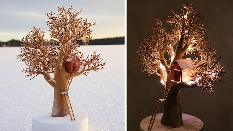 Ett träd gjort i pepparkaksdeg