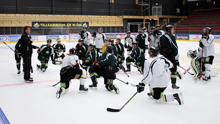 Hockeyspelare står samlade på hockeyplanen och lyssnare på tränaren.