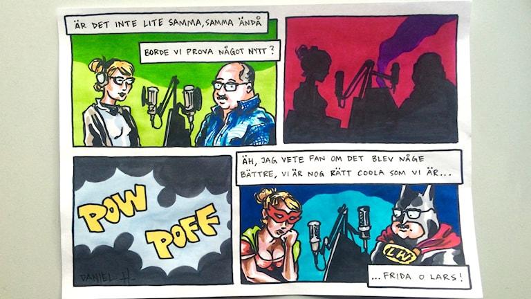 Lars och Frida som seriefigurer.