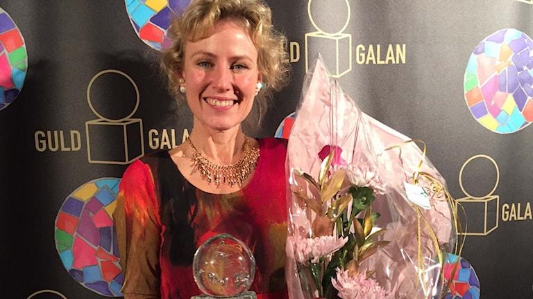 Företagaren Eva Hallin som säljer lokalt producerad mat i företaget Glada lådan vann Gröna guldet på Guldgalan 2015.
