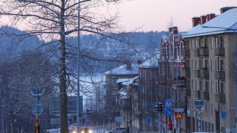 Östersundsgata vinter. Foto: Lotta Löfgren/Sveriges Radio