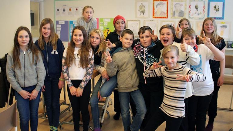 Gällö skola klass 5A. Foto: Leif Landin/Sveriges radio.