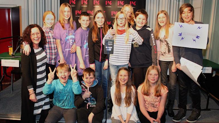 Gällö skola vann den andra kvartsfinalen av Vi i femman. Foto: Lars Gustafsson/Sveriges Radio.