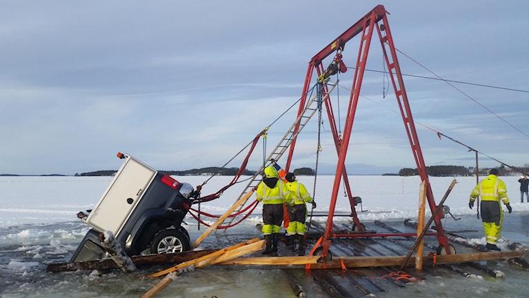 is, isväg, bil, Storsjön, olycka