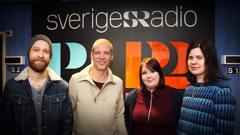 Henrik Myrdhén, Roger Åslund, Maria Björnbom Öberg och Linda Hedenljung. Foto: Fredrik Alverland/SR.