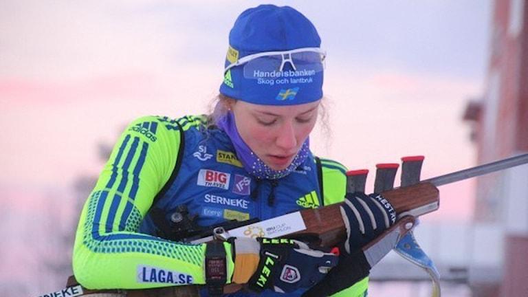 Hanna Öberg tog nytt JVM-guld. Foto: Skidskytte.se