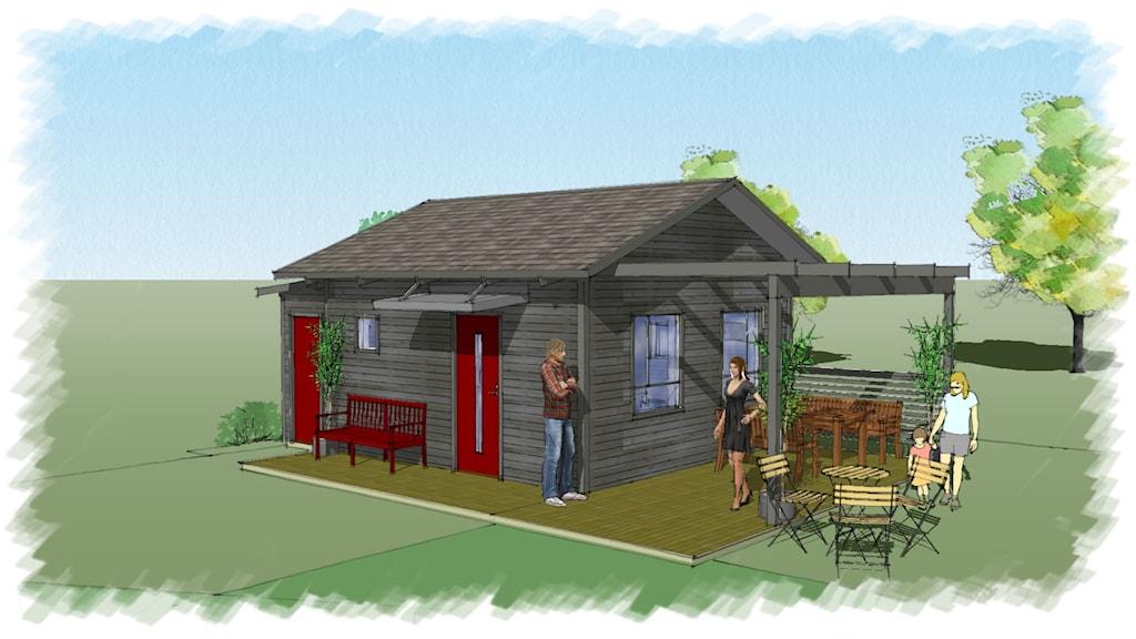 Små hus 25 kvadratmeter som Östersundshem köper in - ritning
