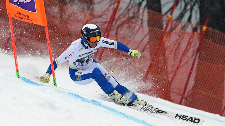 Kajsa Kling of Sweden competes during the women's Downhill training at the Alpine Skiing World Cup in Garmisch-Partenkirchen, Germany,, Thursday  Feb. 4, 2016.  (Tobias Hase/dpa via AP)