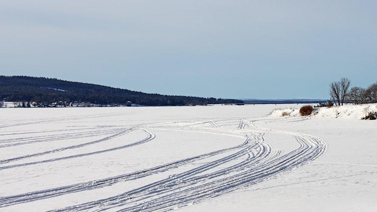 Storsjöns is - skoterspår - vinter
