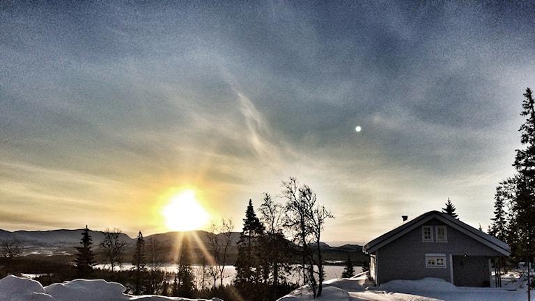 Soluppgång gränsfjällen Jämtland Norge