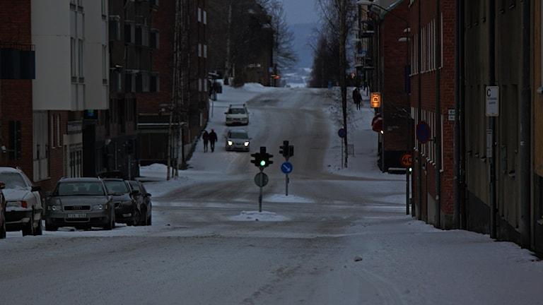 Gata Östersund vinterkväll