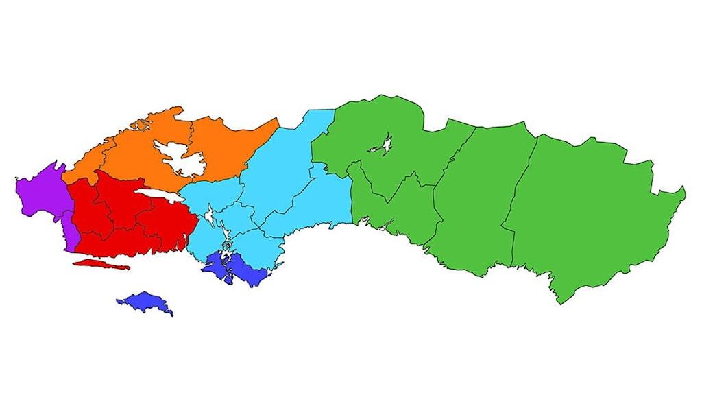 Karta - förslag på ny regionindelning i Sverige.
