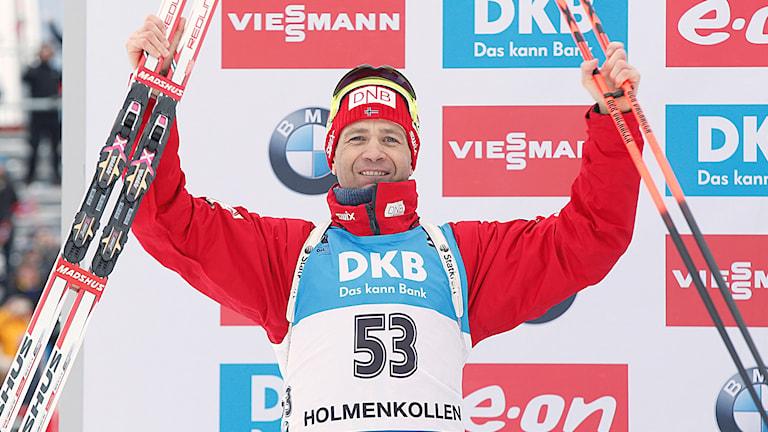 Skidskytteveteranen Ole Einar Bjørndalen under Oslo-VM i skidskytte 2016. Foto:Vidar Ruud/NTB