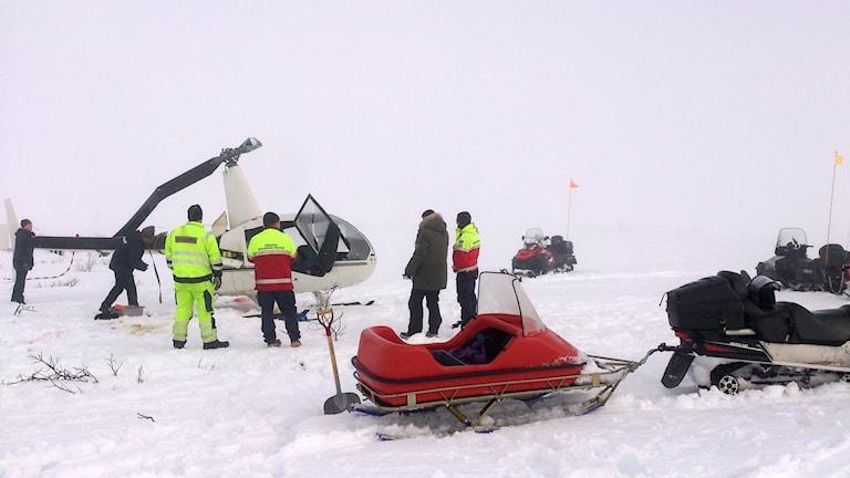 Helikopter som kraschat på kalfjäll vid Storlien. Foto: Ola Olsson/Statens haverikommission