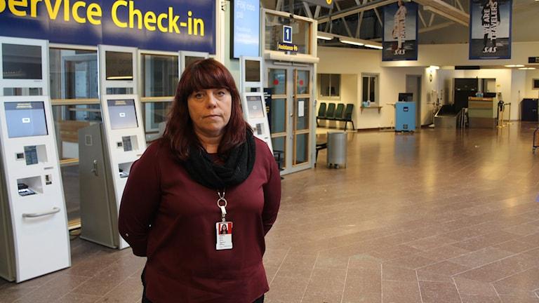 Susanne Norman chef Åre Östersunds flygplats. Foto: Marcus Frånberg/Sveriges Radio