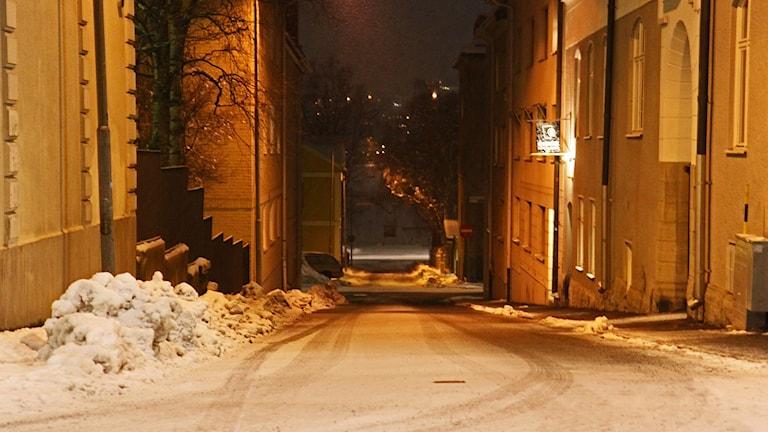 Gatubild Östersund kväll