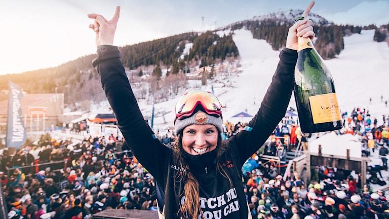Caroline Strömberg, segrare i damklassen vid Åre Red Bull Homerun, 20160427.
