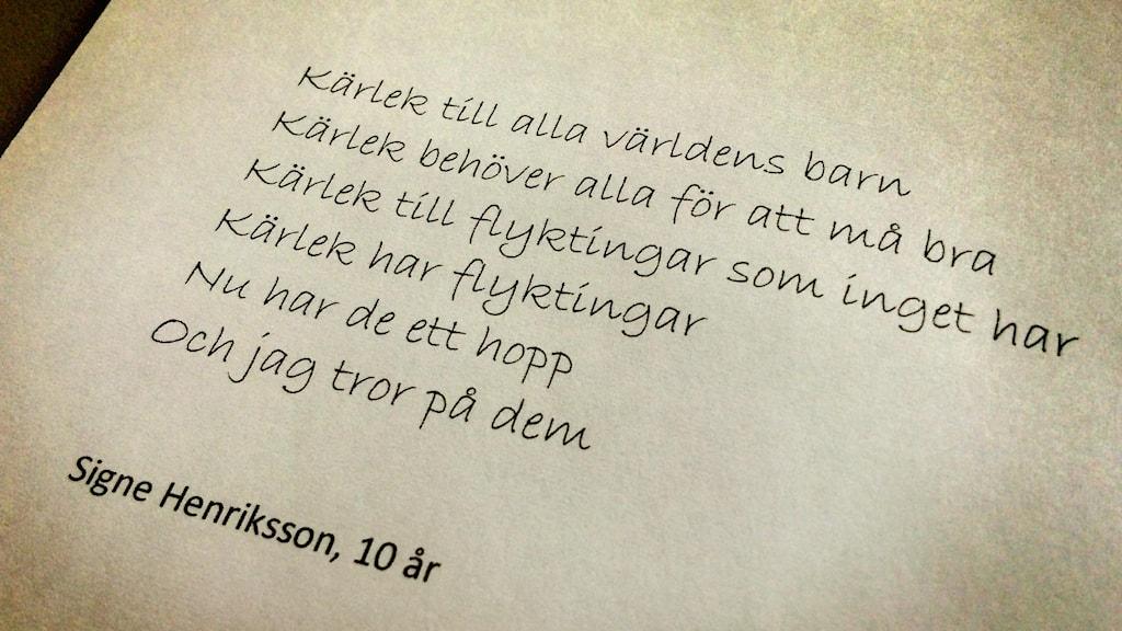 Dikt av Signe Henriksson på Hansåkerskolan i Stugun.