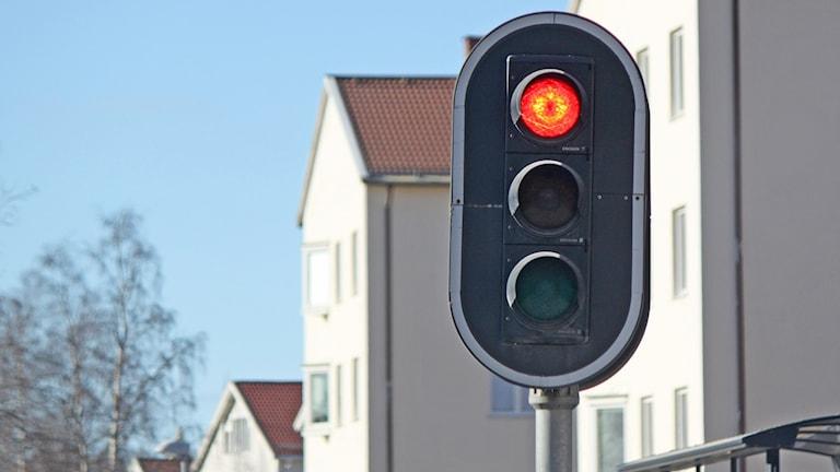 Trafikljus på Rådhusgatan på Söder i Östersund