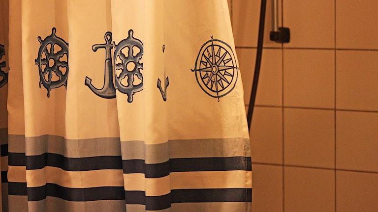 Badrumsinteriör med duschdraperi