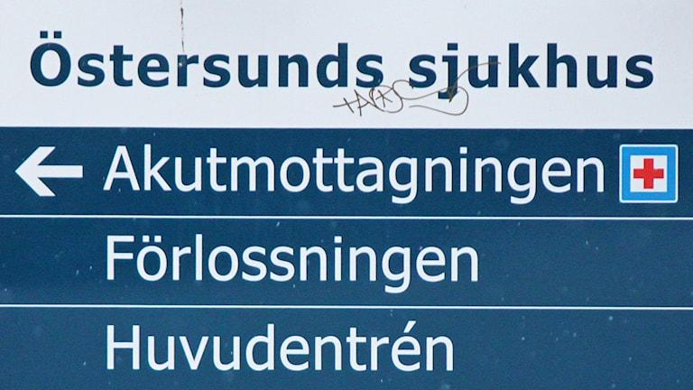 Vägvisningsskylt Östersunds sjukhus