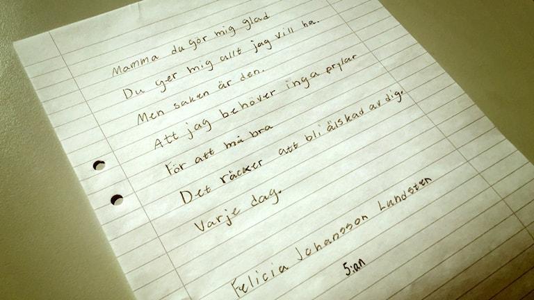 Mina ord om kärlek - Felicias dikt.