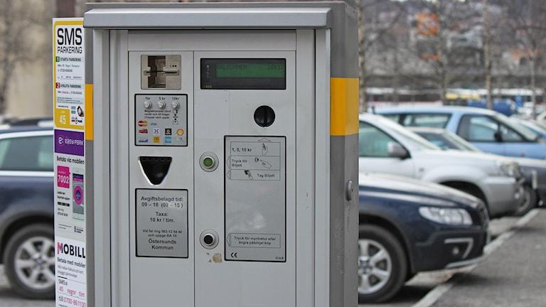 Parkeringsautomat vid parkering Artillerigatan Östersund