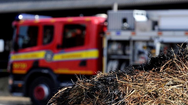En höbal svedd av brand med en brandbil i bakgrunden.