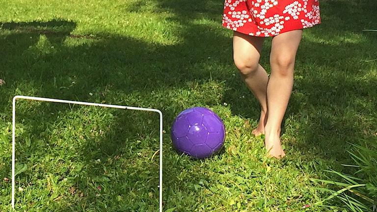 Barn spelar fotbollskrocket