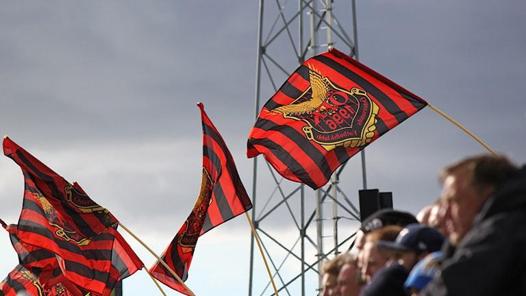 ÖFK-publik ståplatsläktare med flaggor