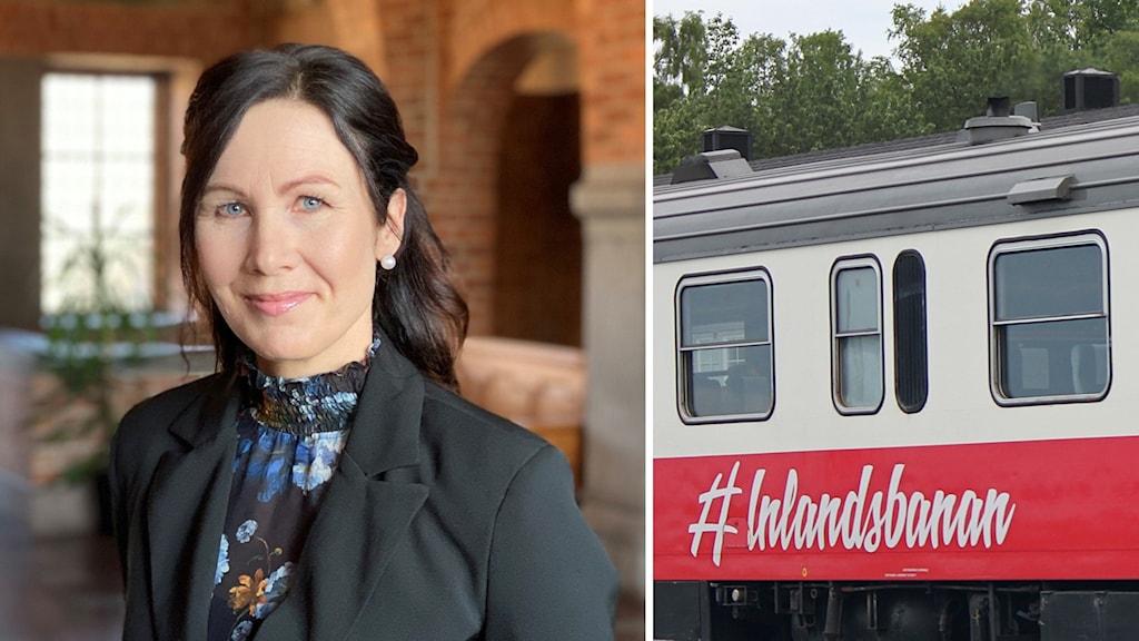 En leende kvinna med mörkt hår i Rådhusmiljö och en bild på ett gammalt tåg