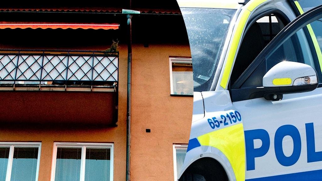 Ett kollage över en exteriör av en balkong och en närbild a en polisbil.