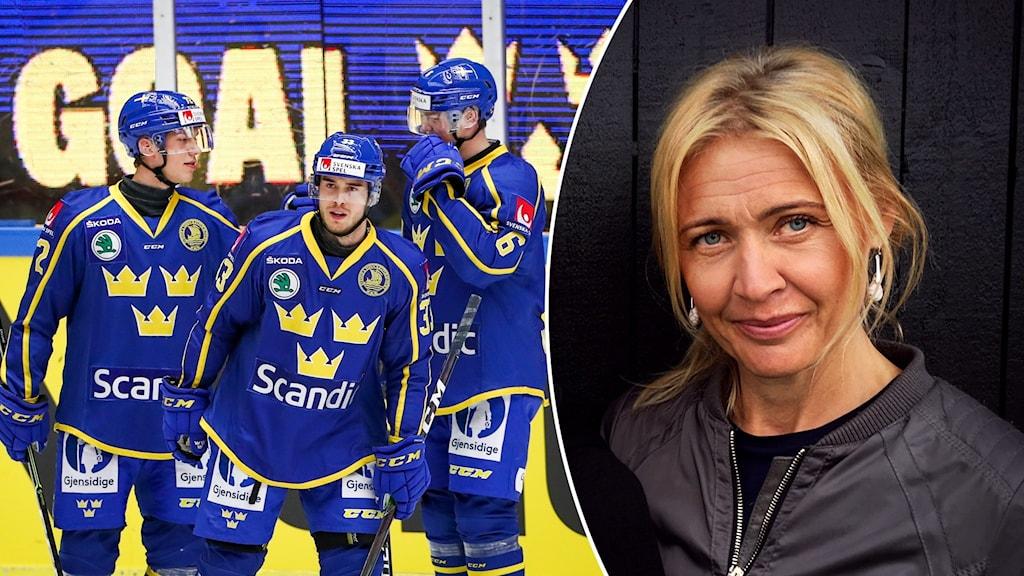Tre manliga ishockeyspelare i blå Tre kronor-dress samt porträttbild blond kvinna med uppsatt hår