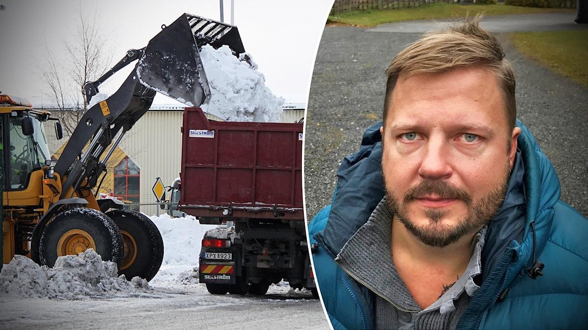 Två bilder: En traktor fyller ett lastbilssläp med snö och ett porträtt på en man med mustasch och blå jacka.