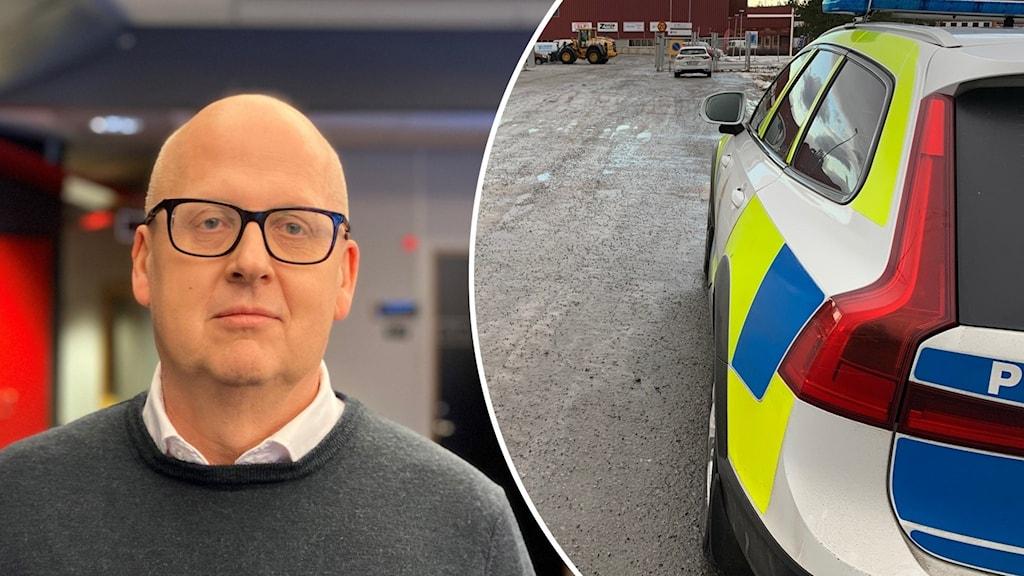 Till vänster man med kal hjässa, glasögon och gråblå fotograferad i lokal inomhus och till höger en bild på en polisbil som står på grusplan.