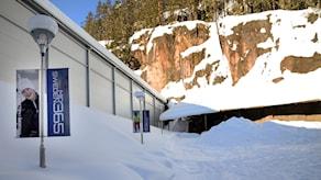 Skidtunnel Gällö exteriör vinter Bräcke kommun