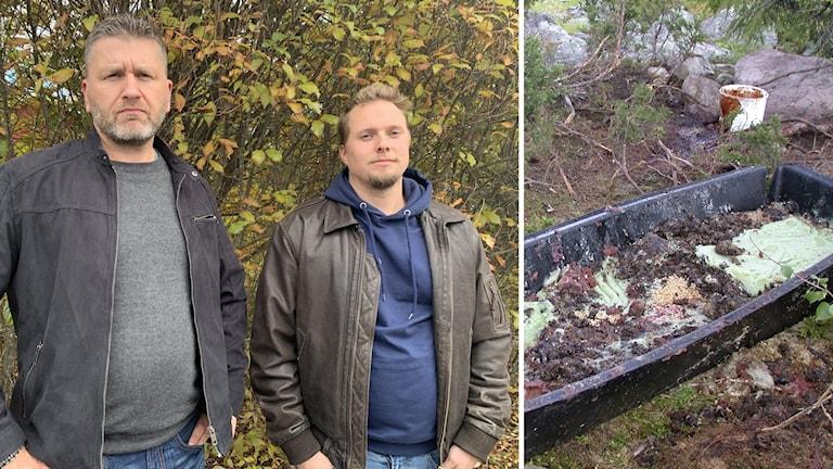 Två bistra män i skinnjackor ramför en buske och en bild på matrester i en plastbalja i skogen