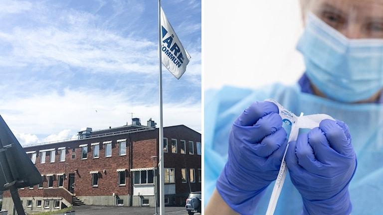 Kommunhus i Åre och sjukvårdspersonal