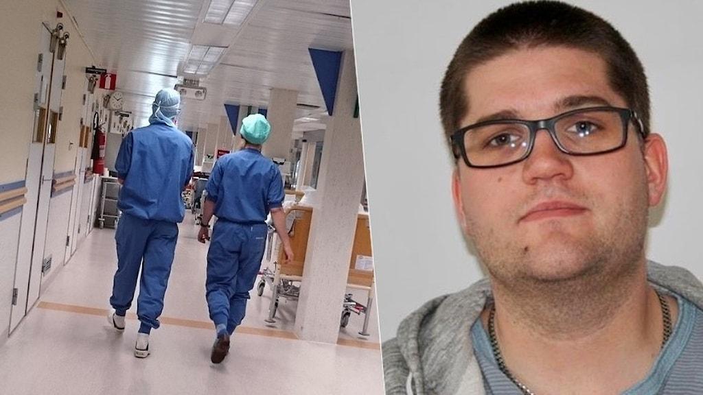 Man med kortklippt mörkt hår och glasögon samt två personer i blå arbetskläder på ett sjukhus.