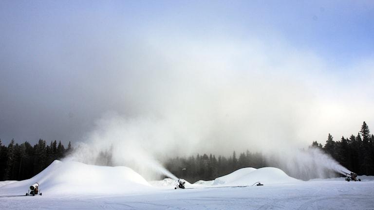 Snökanoner sprutar snö.