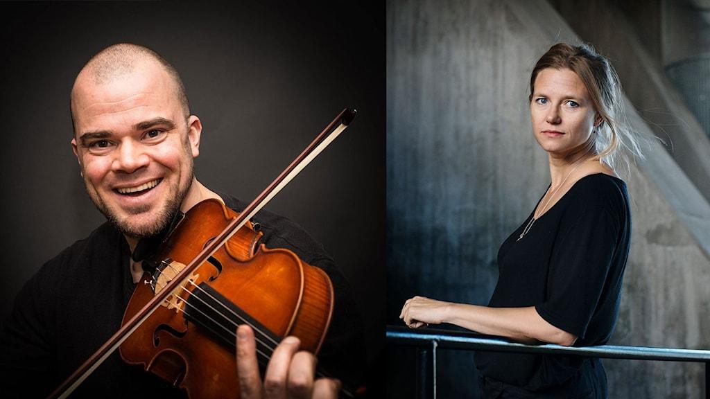 En leende man som spelar fiol och en blond kvinna