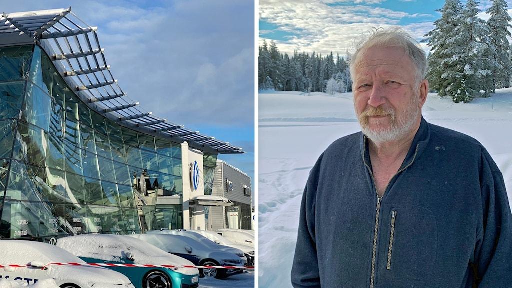 En bilhall med inrasat tak och en bild på en äldre man som står ute i ett snötäckt landskap