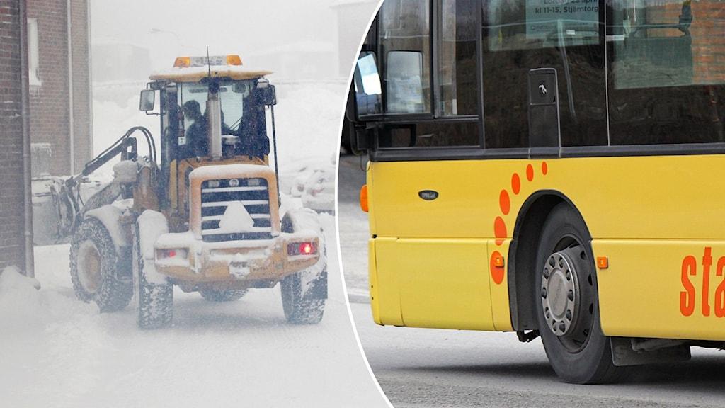 Stadsbuss, plogbil, snöoväder