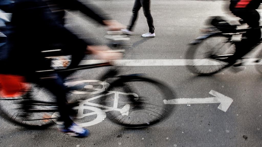 Cyklister i full fart.